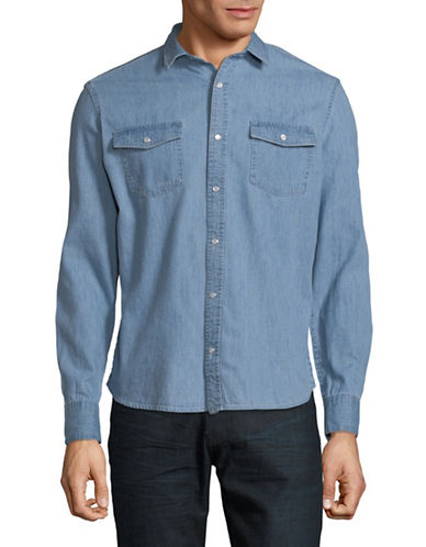 Only And Sons Denim Sport Shirt-LIGHT BLUE-X-Large