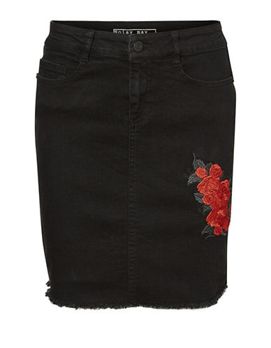 Noisy May Lexi Embroidered Denim Skirt-BLACK-Large
