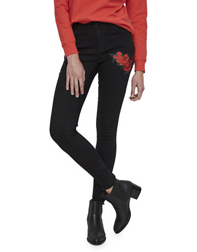 Noisy May Embroidered Ankle Jeans-BLACK-27X32