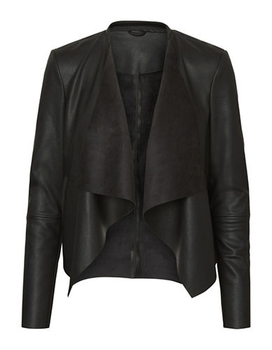 Vero Moda Draped Open-Front Jacket-BLACK-Small
