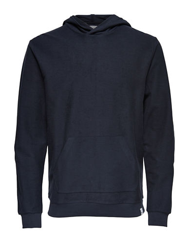 Only And Sons Heathered Hoodie-BLUE-Large