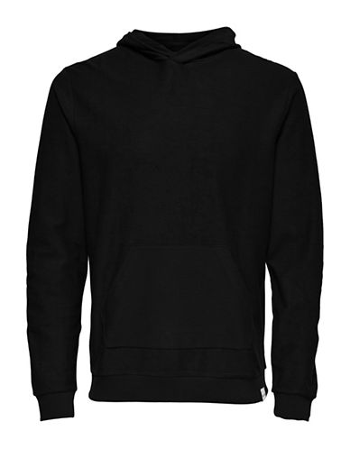 Only And Sons Heathered Hoodie-BLACK-Medium