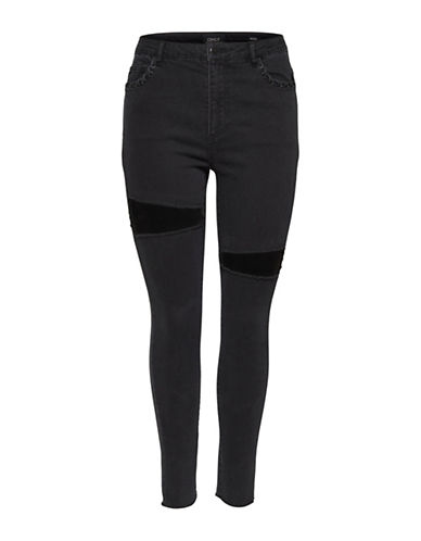 Only Mesh Panel Skinny Jeans-BLACK-25