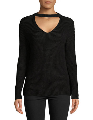 Only Long-Sleeve Choker Pullover Sweater-BLACK-Large