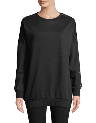 Only Snap Button Sweatshirt-BLACK-X-Small