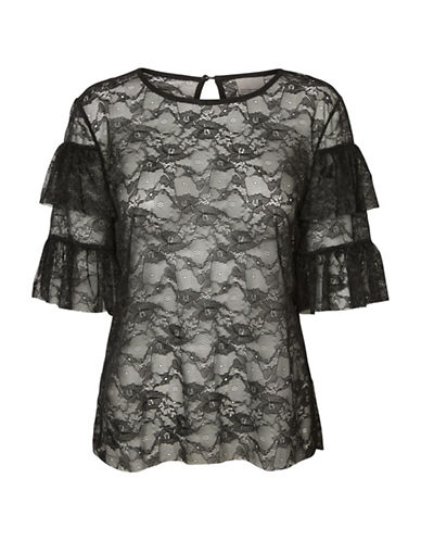 Vero Moda Lacy Flounce Blouse-BLACK-Small