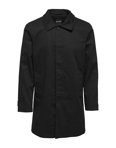 Only And Sons Long-Sleeve Cotton Trench Coat-BLACK-X-Large