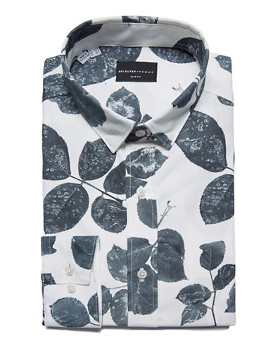 Selected Homme Botanical Cotton Dress Shirt-WHITE-Medium