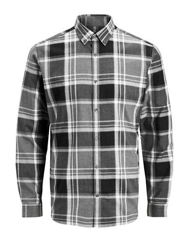 Jack And Jones Premium Graphic Cotton Sport Shirt-GREY-Small