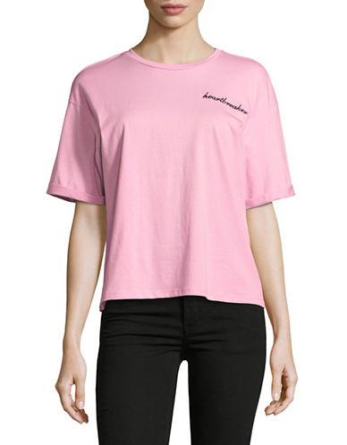 Only Embroidered Slogan Cotton Tee-PINK-Small