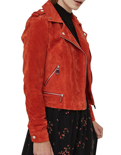 Vero Moda Asymmetric Zip-Front Suede Jacket-ORANGE-X-Small