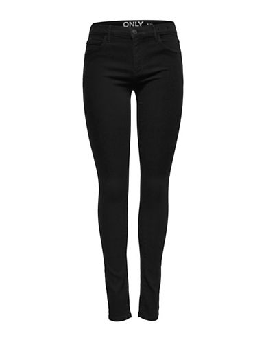 Only Skinny Eyelet Jeans-BLACK-X-Small