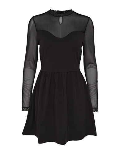 Only Mesh Long-Sleeve Fit-And-Flare Dress-BLACK-Small