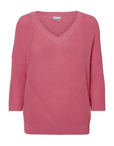 Noisy May Sian Quarter-Sleeve Pullover-PINK-X-Small