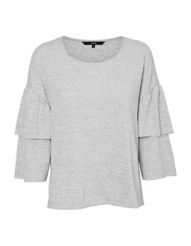Vero Moda Natural Tiered Sleeved Knit Top-GREY-Small