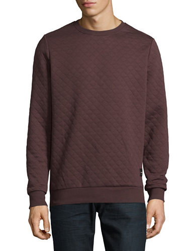 Only And Sons Quilted Crew Neck Sweater-RED-Small