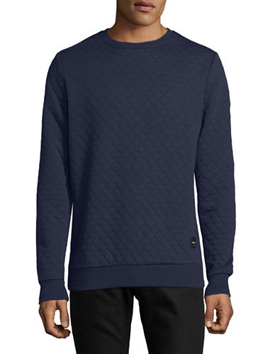 Only And Sons Quilted Crew Neck Sweater-BLUE-Small