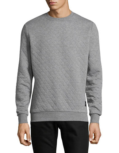 Only And Sons Quilted Crew Neck Sweater-LIGHT GREY-Medium