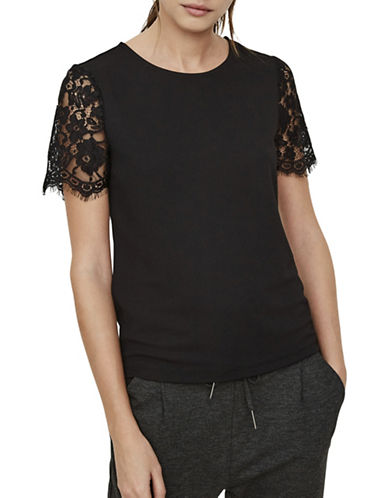 Vero Moda Milla Short Lace Sleeve Top-BLACK-Small
