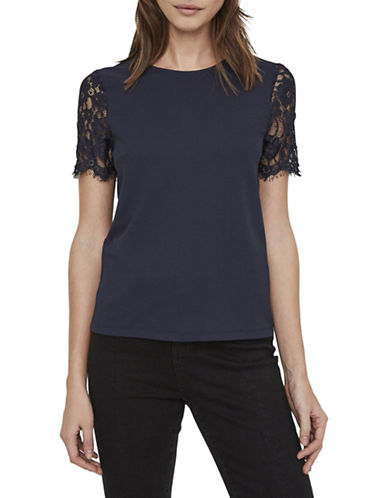 Vero Moda Milla Short Lace Sleeve Top-NAVY-Large