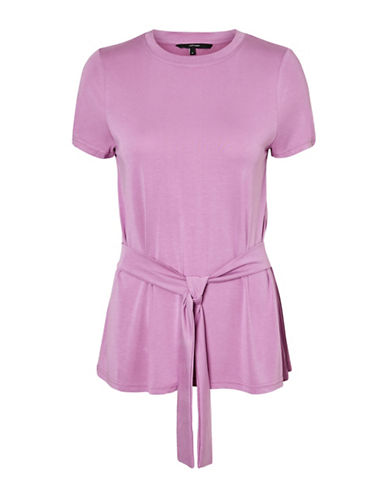 Vero Moda Nib Short Sleeve Tie-Waist Top-MAUVE-Large