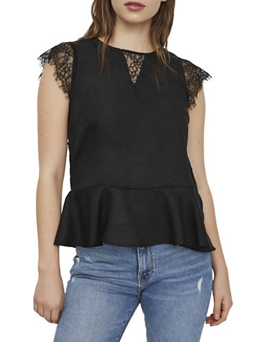 Vero Moda Nile Lace Top-BLACK-Small