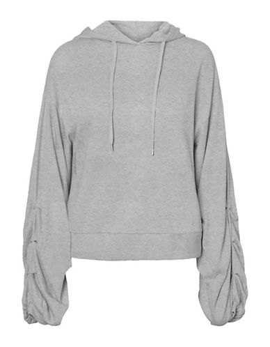 Vero Moda Hooded Cotton Sweater-GREY-Large