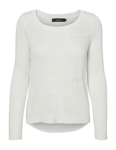 Vero Moda Classic Cable-Knit Sweater-WHITE-Large