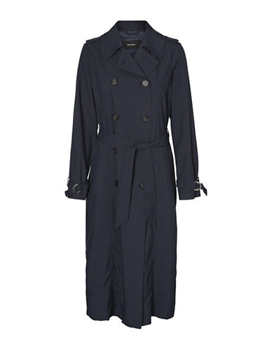 Vero Moda Penny Paris Long Trench Coat-BLUE-Small