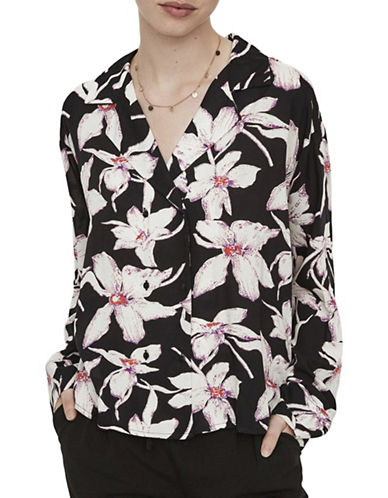 Vero Moda Floral Double-Breasted Shirt-BLACK-Large