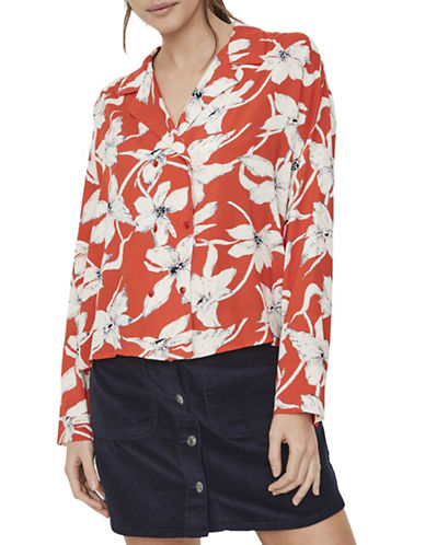 Vero Moda Floral Double-Breasted Shirt-ORANGE-Large