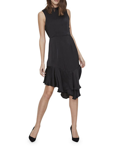 Vero Moda Asymmetric Ruffled Fit-And-Flare Dress-BLACK-42
