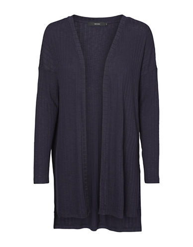 Vero Moda Ribbed Open-Front Cardigan-BLUE-Large