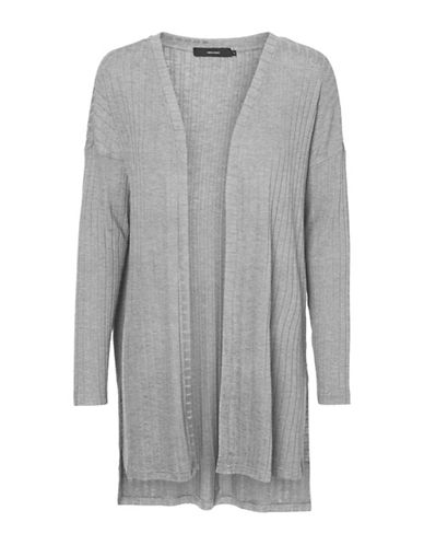 Vero Moda Ribbed Open-Front Cardigan-GREY-Medium