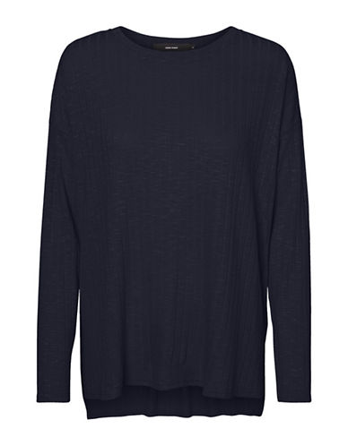 Vero Moda Ribbed Hi-Lo Top-NAVY-Medium