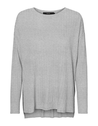 Vero Moda Ribbed Hi-Lo Top-GREY-Large