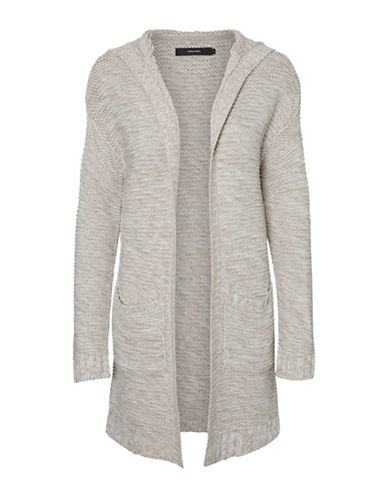 Vero Moda Hooded Open-Front Cardigan-GREY-X-Large