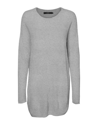 Vero Moda Heathered Long-Sleeve Top-GREY-Large