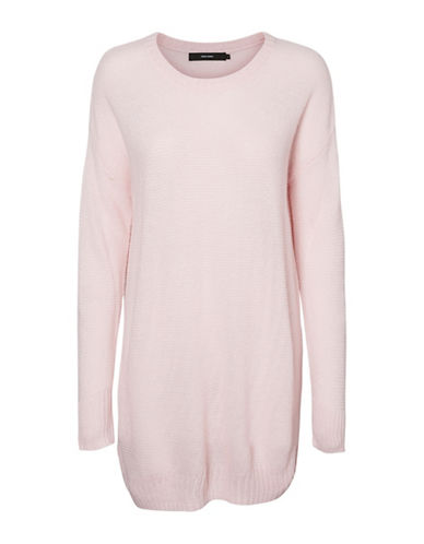 Vero Moda Heathered Long-Sleeve Top-PINK-X-Large
