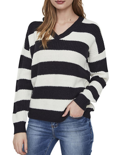 Vero Moda Sibbo Stripe V-Neck Sweater-NAVY-Medium