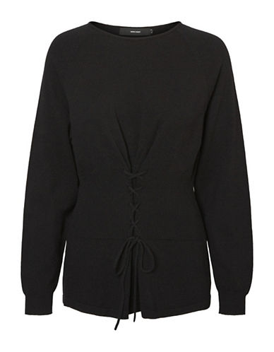 Vero Moda Lace-Up Long-Sleeve Sweater-BLACK-Small