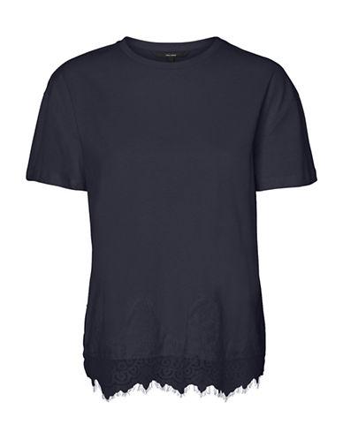 Vero Moda Laced-Hem Cotton Tee-BLUE-X-Large