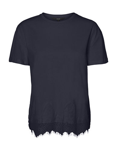 Vero Moda Laced-Hem Cotton Tee-BLUE-Medium