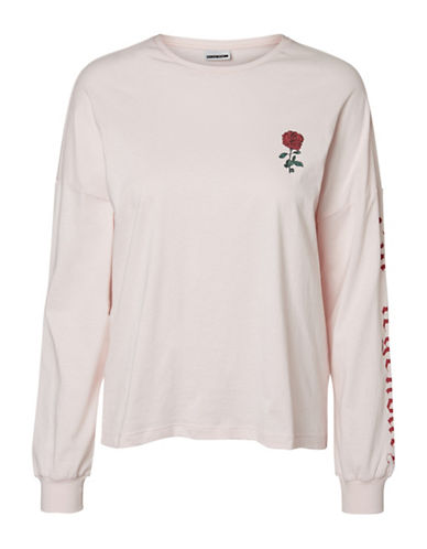 Noisy May Long-Sleeve Rose Cotton Top-PINK-Large