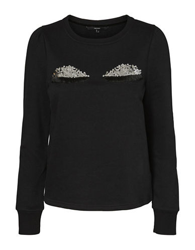 Vero Moda Tieme Eye Lid Sweatshirt-BLACK-Large