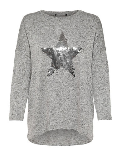 Only Sequined Long-Sleeve Pullover-GREY-Large