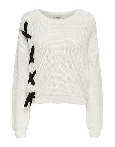 Only Knit Lace-Up Pullover-WHITE-Small
