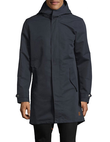 Jack & Jones Long Sleeve Hooded Parka-BLUE-Small