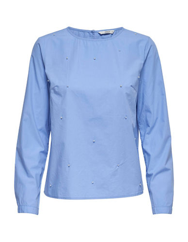 Only Faux Pearl Cotton Blouse-BLUE-36