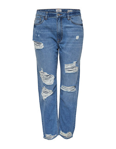 Only Distressed Cotton Jeans-BLUE-26 32